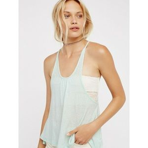 NWT FREE PEOPLE   Intimately Blue Ribbed Swing Top